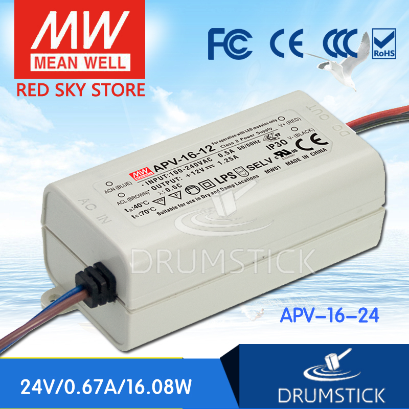 ФОТО Redsky [free-delivery 10Pcs] MEAN WELL APV-16-24 24V 0.67A meanwell APV-16 16.8W Single Output LED Switching Power Supply