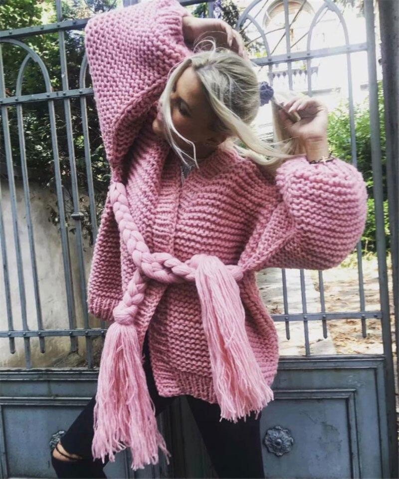 Wzl1484 Cardigans Grossier Rose Veste pink gray 2019 Main Chandails Vrac Printemps Manches Beige En Laine Tricoté Hee Lanterne Grand Bruts 4Cxqzwwa