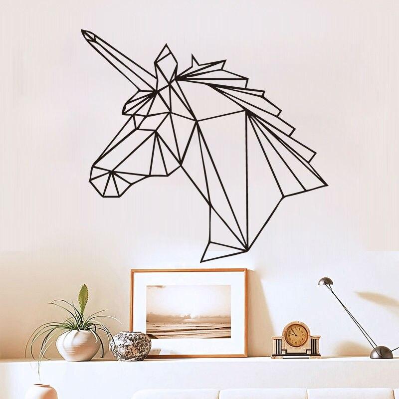 Zooyoo Geometric Unicorn Wall Sticker Horse Head Wall Decals Home Decor Kids Room Living Room Bedroom