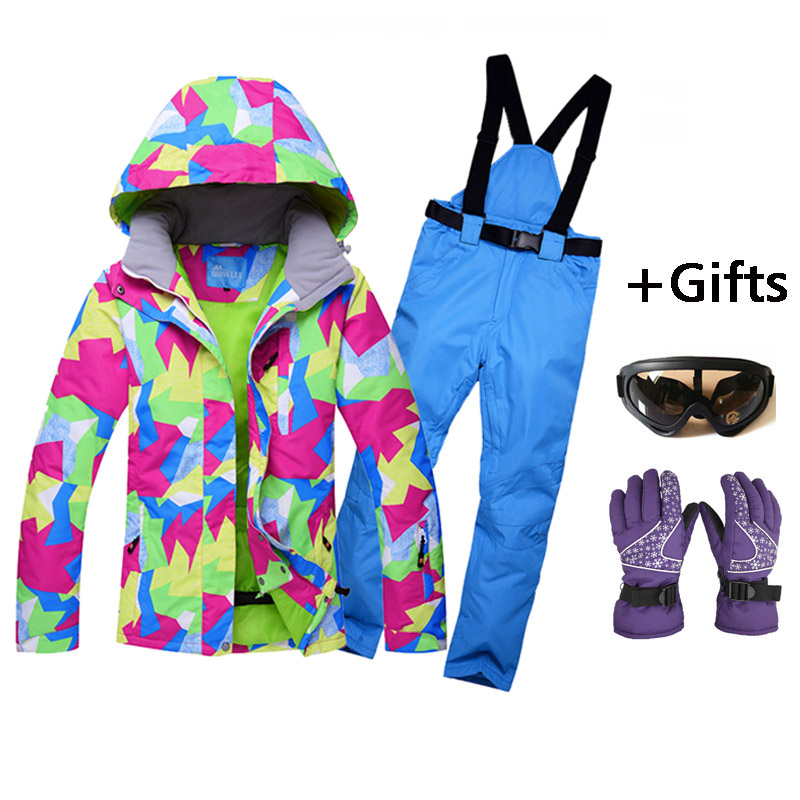 Hot sale Women Skiing Jackets And Pants Snowboard sets Thick Warm Waterproof Windproof Winter female Ski wearproof suit top quality womens skiing suit sets windproof waterproof thermal snowboard jackets and pants girl winter cotton snow dress