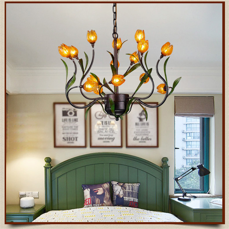 Glass flowers green leaves chandeliers american garden for Simple suspension hanging