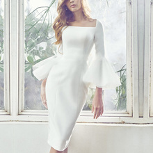 Women Dress summer white organza flare sleeve sexy bodycon sheath party club ball dress casual work office bandage dreses 9863