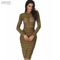 Wholesale 2019 New Sexy Women Dress Mesh Studded Button Olive Red Black High Neck Bodycon Dress Celebrity Party Bandage Dresses