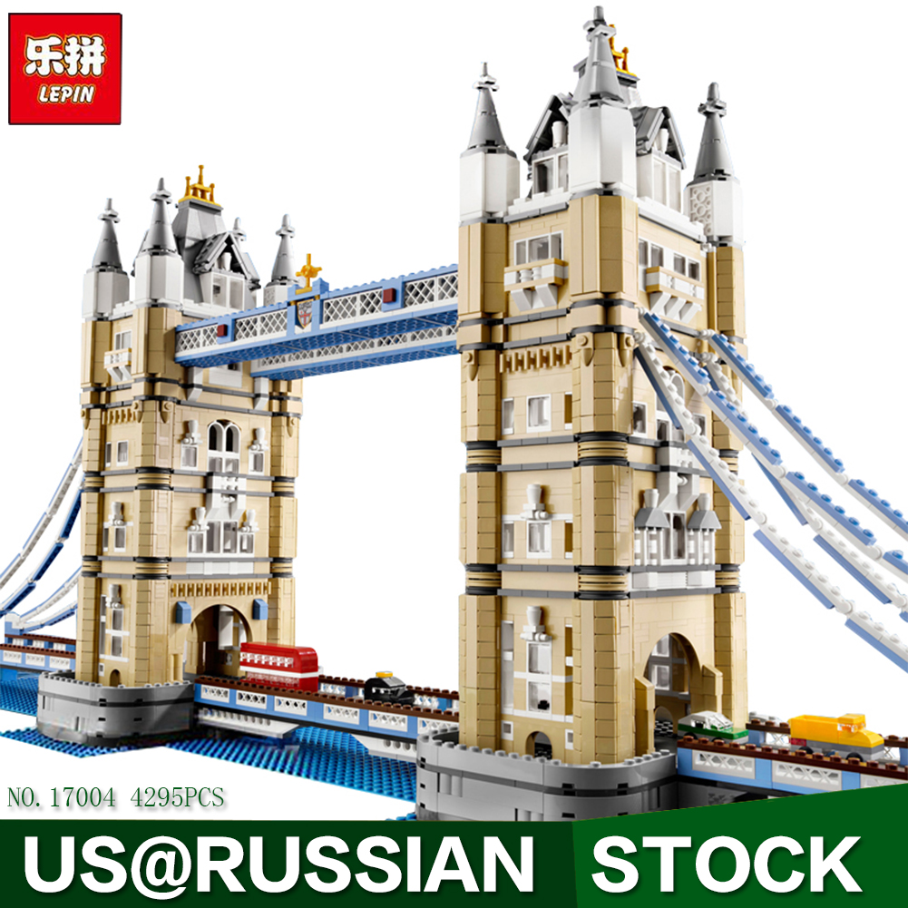 New LEPIN 17004 4295pcs Creator Expert London bridge Model Building Kits Brick Toys Compatible 10214 Christimas Gift new lepin 22001 pirate ship imperial warships model building kits block briks toys gift 1717pcs