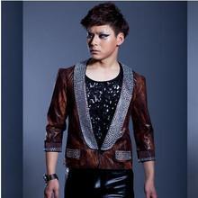 Brown Camouflage Diamond Singer blazers stage blazer men suit 1 fashion suits for men blazer jacket masculino Customizable