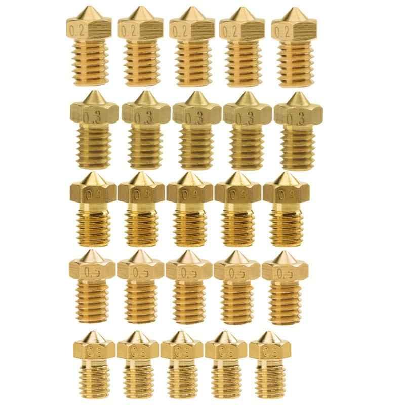 5 шт./компл. 0,2 мм/0,3 мм/0,4 мм/0,5 мм/0,8 мм V5 V6 насадка M6 латунные для 1,75 мм нити 3D принтеры высокое качество