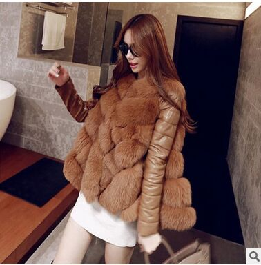 Fashion Womens Large Size Long Fox Fur Patchwork Pu Leather Jacket Casual Ladies Winter And Spring Cloak Wape Fur Coats J479