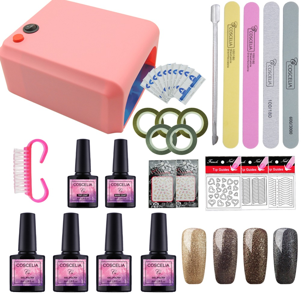 Nail Art Set For Manicure 36W Uv Lamp Nail Dryer 40 Colors Gel Nail Polish Set Tools For Manicure Set Gel Varnishes Base And Top coscelia nail art tools for manicure 36w uv lamp for nail 10 color uv gel manicure set gel nail art set for gel nail polish