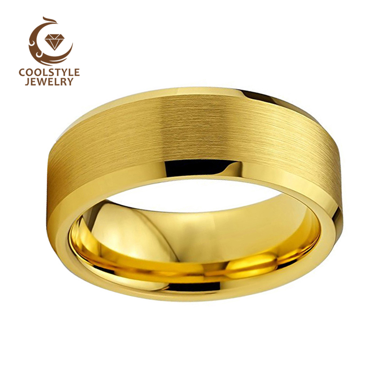 US $11 99 |Yellow GOLD 8mm Matte Finish Tungsten Carbide Ring Wedding Band  Beveled Edges Cobalt Free-in Wedding Bands from Jewelry & Accessories on