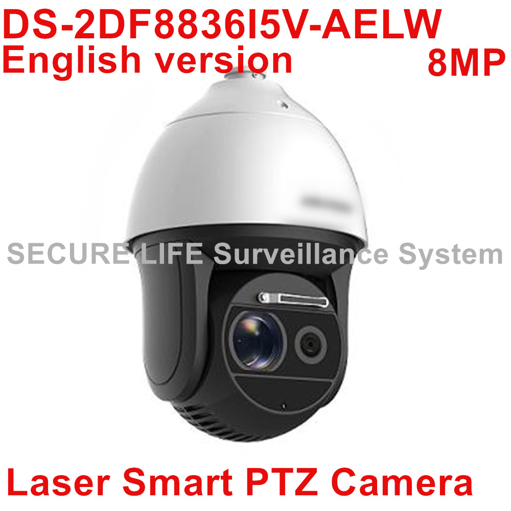 Free shipping DS-2DF8836I5V-AELW 4K Laser Smart PTZ Camera POE 4K 8MP CCTV IP camera with wiper 36x optical zoom 500m IR H.265+ 2017 new ds 2df8836iv aelw english version 4k smart ir ptz camera poe camera with wiper