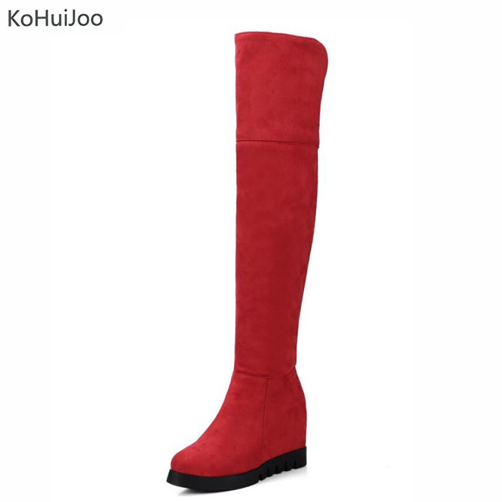 KoHuiJoo Thigh High Women's Winter Boots Flock High Heels Over The Knee High Heels Wedges Boots Women Plus Size Shoes Size 34-43 ppnu woman winter nubuck genuine leather over the knee snow boots women fashion womens suede thigh high boots ladies shoes flats