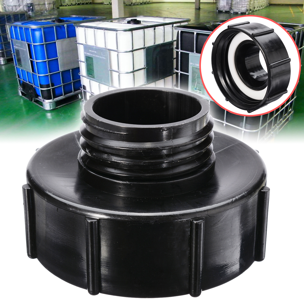 IBC Adapter S100x8 To Reduce S60x6 IBC Tank Connector Adapter Replacement Garden Water Connectors Black