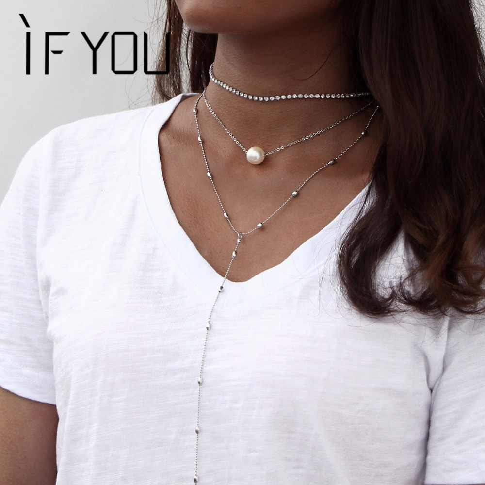IF YOU Boho Multi Layer Crystal For Women Fashion Vintage Sexy Choker Necklace Simulated Pearl Pendant Necklace Collier Jewelry