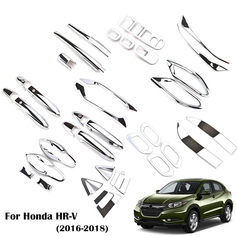 For Honda HR-V HRV Vezel 2016 2017 2018 Chrome Front Rear Fog Light Door Handle Bowl Cover Decor Trim Car Styling Accessories