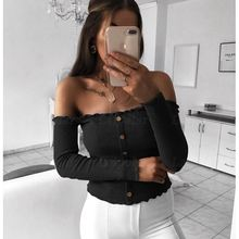 Laipelar Knitted Crop Tops Spring Autumn Slash Neck Shirt Women Ladies Sexy Casual Off Shoulder Long Sleeve Button Crop Top off the shoulder checked long sleeve crop top