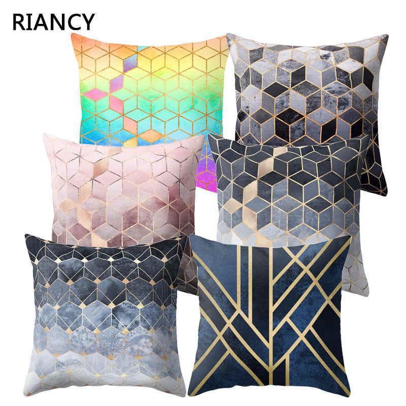 Gold Marble Geometric Sofa Decorative Cushion Cover Pillow Pillowcase Polyester 45*45 Throw Pillow Home Decor Pillowcover 40507