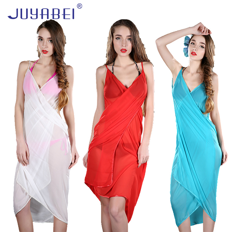 JUYABEI Beach Cover Up Candy Color Sexy Robe Plage Beach Long Dress Pareos Women Beach Tunic Sarong Bikini Cover Up Bathing Suit