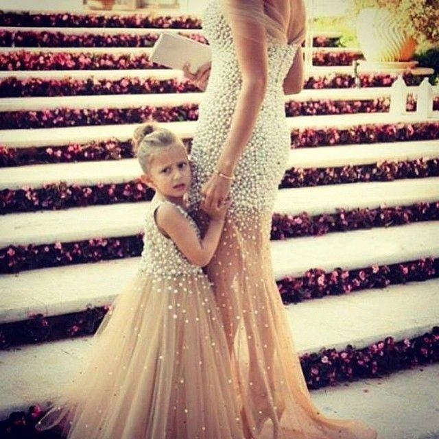 2016 Mother Daughter Matching Dresses Mermaid Tulle Pearls Prom Party Dress Elegant Long Formal Evening In From Weddings
