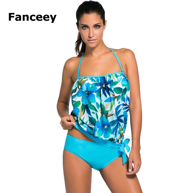 0b15536ac69e5 Fanceey Cute Floral Print Tankini Swimsuits Plus Size Two Piece Swimsuit  for Women Swimwear Beach Bathing Tankini with Shorts