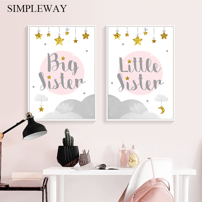 Big Sister Funny Child Poster Canvas Wall Art Nursery Quotes Print Painting Nordic Kid Decoration Picture Baby Girl Room Decor