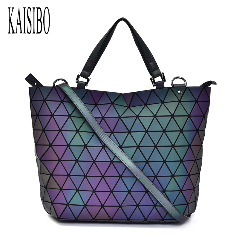 Diamond Lattice Hand Bag Women Luminous Shoulder Bags Geometry Sequins Mirror Plain Folding Bucket Bag PU Casual Totes