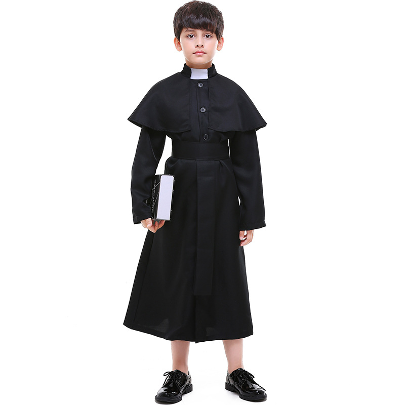 Children Black Priest Long Robe With Cape Suit Costumes Cosplay For Boys Abbe Halloween Easter Party Cosplay