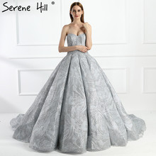 Grey Sliver   Big  Glitter Train Wedding Dresses Luxury  Sparkly High end  Bridal Dress  2020  Real Photo HA2094