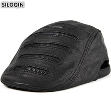 SILOQIN High Quality Mens Flat Cap Genuine Leather Hat Personality Decoration Sheepskin Berets For Men Dads Hats New