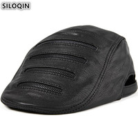 SILOQIN High Quality Men's Flat Cap Genuine Leather Hat Personality Decoration Sheepskin Leather Berets For Men Dad's Hats New