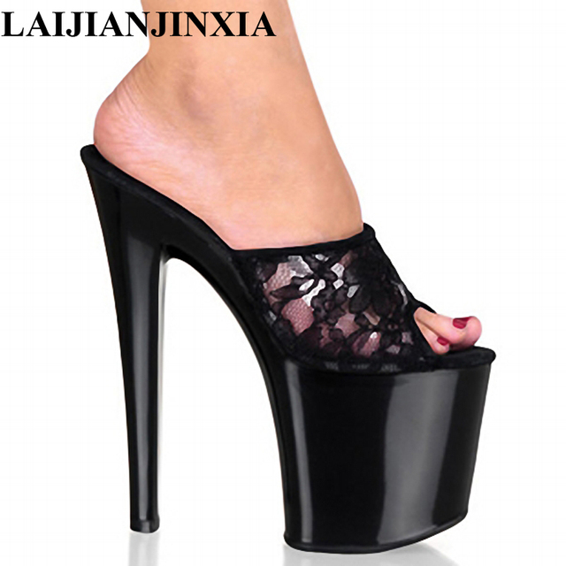 LAIJIANJINXIA 20 CM High Heels Slippers Club Night Sexy Pole ...