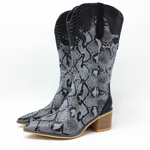 Image 5 - Fashion Embossed microfiber  Leather Women Mid calf Boots Toe Western Cowboy Boots Chunky High Heels Motorcycle Boots size 33 46