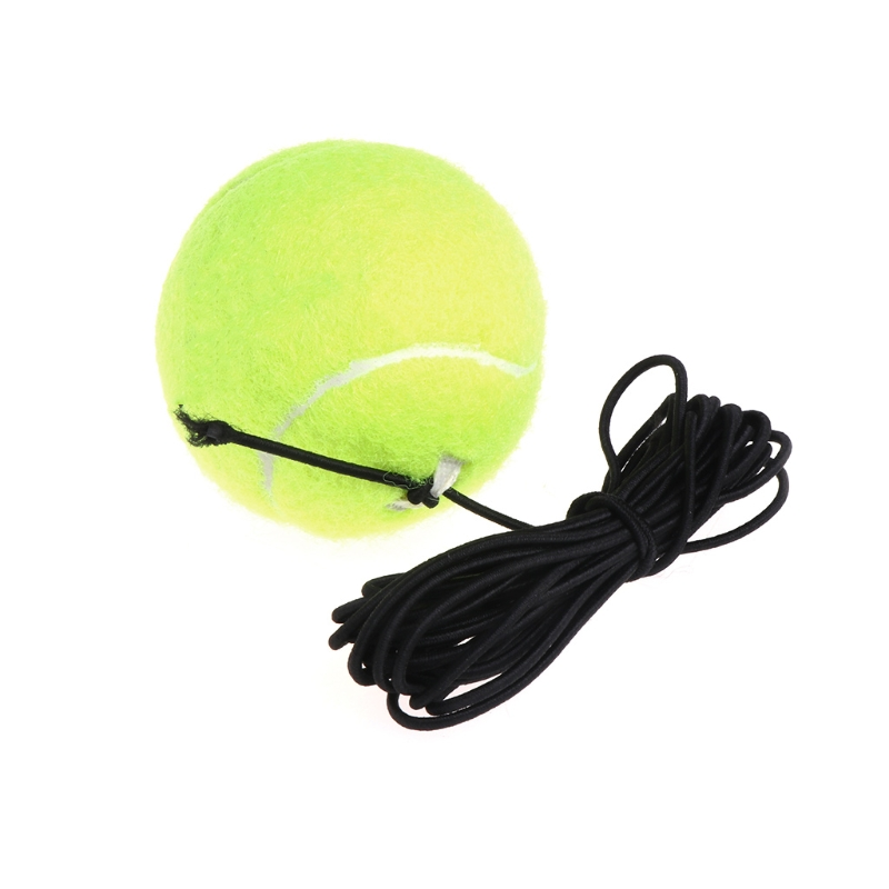 New Green Resilience Tennis Balls Trainer Exercise Rubber Cord Elastic Band Rebound Training Tennis