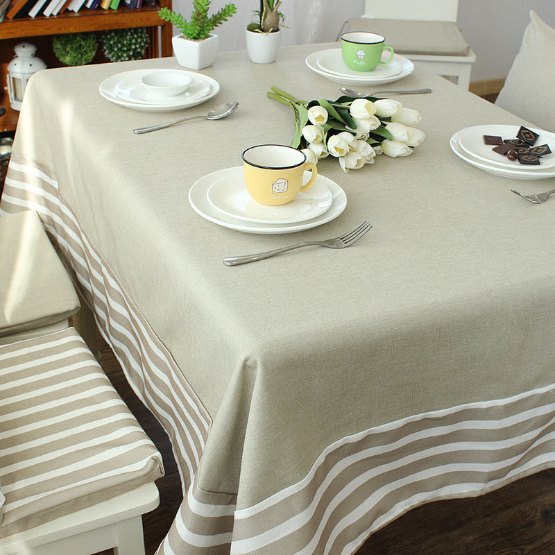 Navy Wind Linen Cotton Striped Table Cloth Oversize 140*220 Picnic Party  Tablecloth Dustproof Coffee