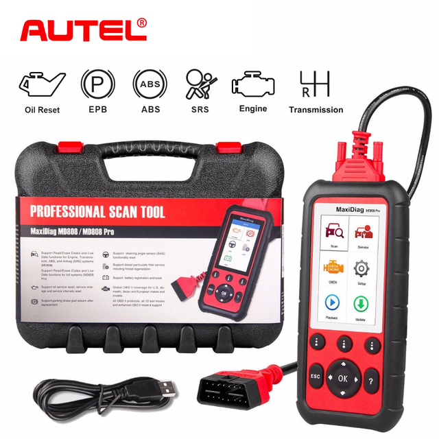 Flash Promo Autel MD808 Pro Car Diagnostic Tool OBD2 Code Reader Scanner EPB ABS SRS DPF for Oil and Battery Reset Registration OBD Scanner