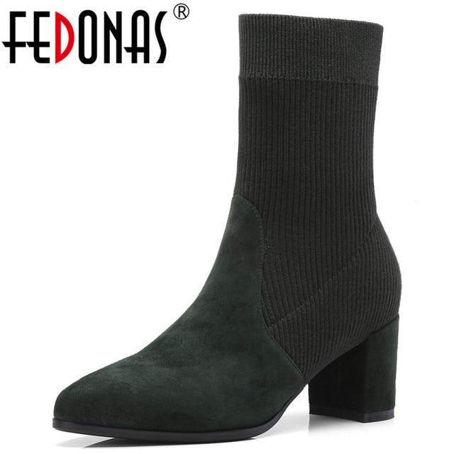 FEDONAS Giày Bốt nữ Mũi Nhọn Thun Giữa bắp chân Giày Dày Gót Giày Cao Gót Giày Người Phụ Nữ Vớ Nữ Giày 2020 Thu Giày