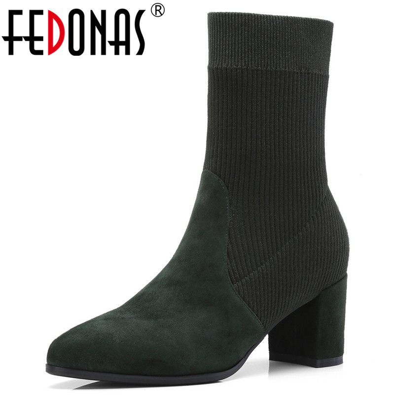 FEDONAS Women's Boots Pointed Toe Elastic Mid-calf Boots Thick Heel High Heels Shoes Woman Female Socks Boots 2018 Autumn Shoes scott walker scott walker scott 3