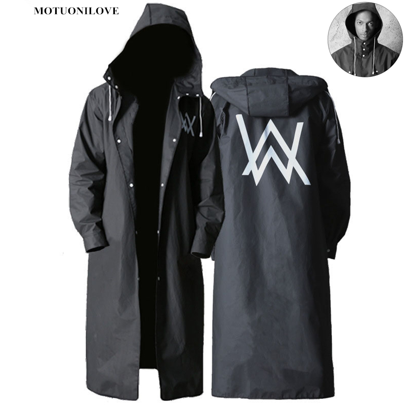 Stylish EVA Black Adult Raincoat Alan Walker Pattern Outdoor Men's Long Style Hiking Poncho Environmental Rain Coat Direct Sales
