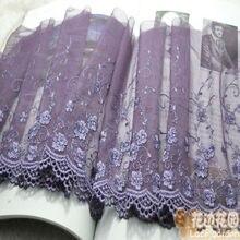 Somelace 22 см ширина(2 ярдов/партия) вышивка фиолетовый высокое качество кружевной ткани вышитые кружева отделка