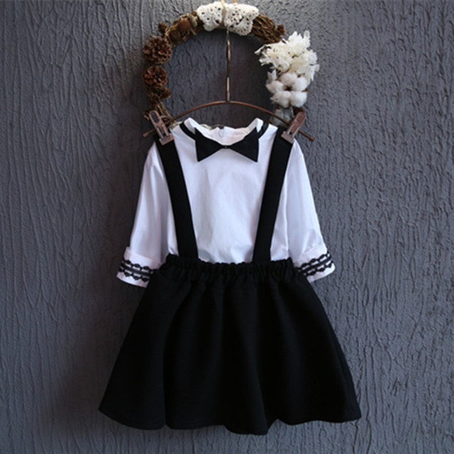 Toddler Girls Clothes Overall Skirt Blouse 2pcs Suit Spring Autumn Girls Clothing Sets Korean Style White Bow School Shirt Set