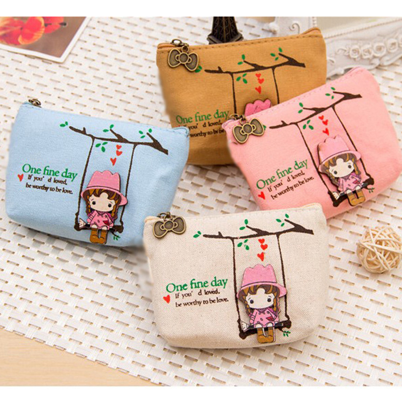 Cute Canvas Coin Bag Lovely Girls Purse Small Zipper Wallet Card Purse Zip Key Case Money Bag Coin Purses Carteira Feminina