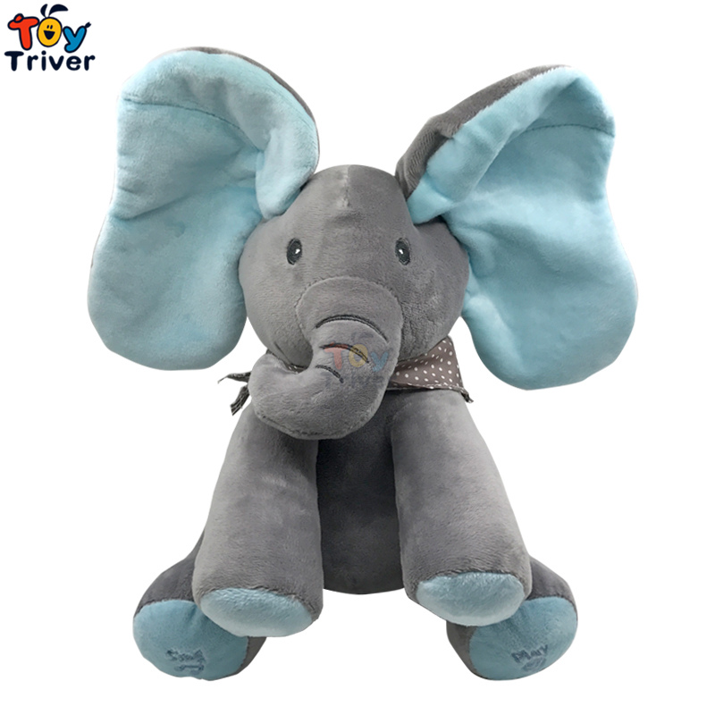 Plush Peek A Boo Hide Seek Blue Grey Elephant Toy PEEK-A-BOO Singing Baby Music Toys Ears Flaping Interactive Funny Doll Gift funny fishing game family child interactive fun desktop toy