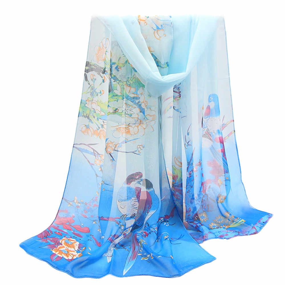 Bufanda suave de verano primavera fina de hilo parisino chal de playa de estilo chino elegante señora Magpie impreso bufandas y Stoles # RN