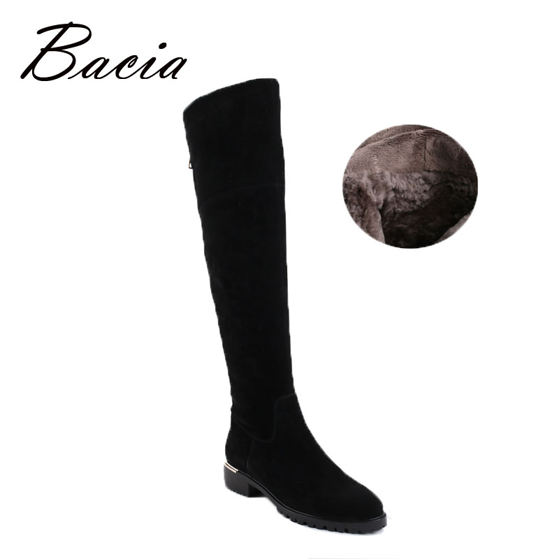 Bacia Fashion Black Over Knee Boots Suede Leather Boots With Warm Plush Handmade High Quality Classical Botas Women Shoes VC003 bacia genuine leather boots short plush women shoes black simple style ankle boots with zipper handmade high quality shoes vd021