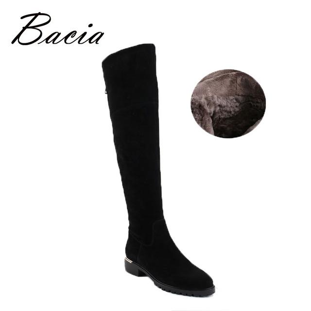 Bacia moda preto sobre o joelho botas de camurça botas com pelúcia quente artesanal de alta qualidade clássica de couro botas mulheres sapatos vc003
