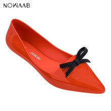 Melissa Pointy Solid 2019 Women Flat Sandals Brand Original Melissa Adulto Shoes Women Jelly Sandals Female Jelly Shoes Mulher(China)