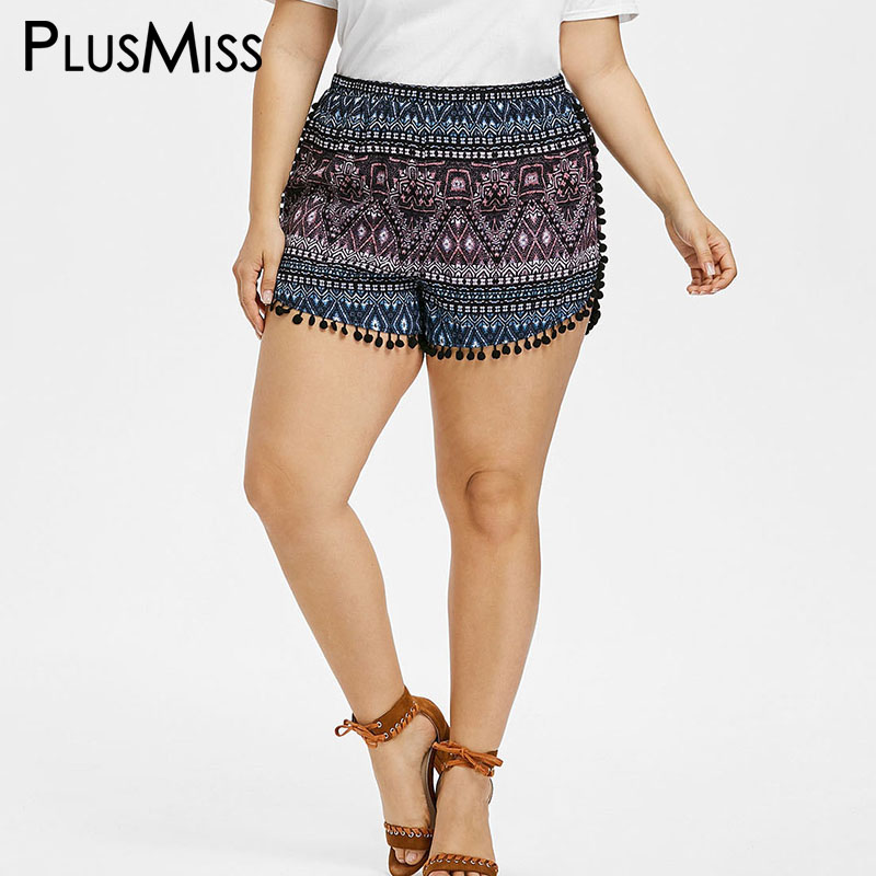 PlusMiss Plus Size 5XL 4XL Sexy Pom Pom Dolphin   Shorts   Women Big Size Summer 2018 High Waist Tassel Boho   Shorts   Ladies Bottom