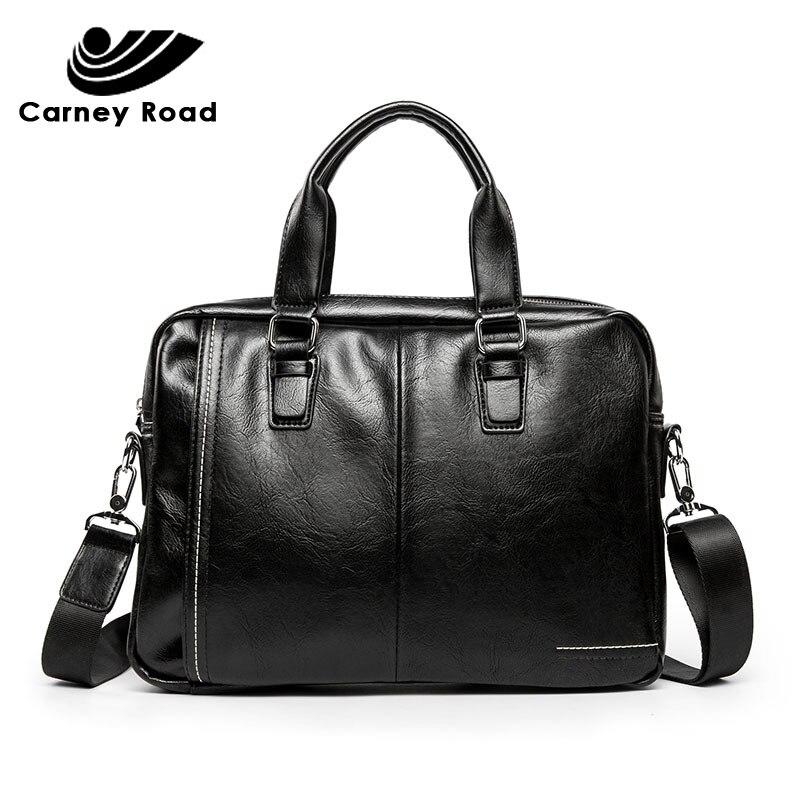 2019 Business Pu Leather Men's Briefcase High Quality Office Handbag 14 Inch Laptop Bag Daily Carry Tote Shoulder Bag For Men