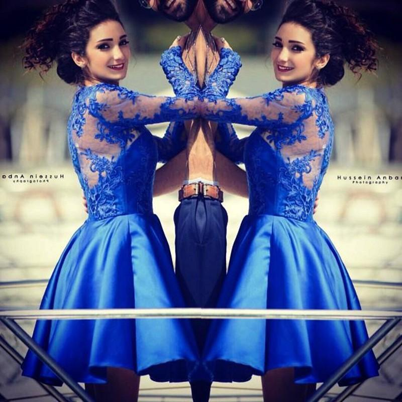 5d85fb43d6d Long Sleeve Cocktail Dresses Royal Blue Applique Evening Party Dresses  Custom Short Prom Dresses Satin A Line Homecoming Dresses-in Cocktail  Dresses from ...