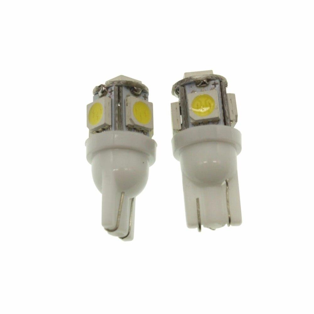 Бесплатная доставка 10X T10 5SMD DC 12 В 1 Вт 5050 5 SMD 192 168 194 W5W белый светодиод Сторона клин лампочки автомобиля света белого источник