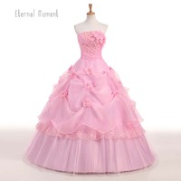 Eternal Moment White Quinceanera Dresses Pink Strapless Flowers Ball Gown Sweet 16 Dresses TBQD01
